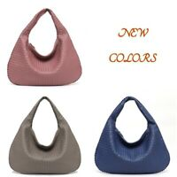 MONFERE New Vegan Leather Hobo Bag Handmade Woven Casual Women Handbag Patchwork