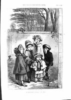 Original Old Antique Print 1855 Colour Christmas Carol Singing Children 19th