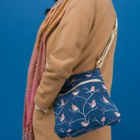 BLUE ROBIN PRINT CROSS BODY SHOULDER BAG CANVAS HANDBAG CROSSBODY  BIRD PRINT