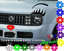 Car Eyelashes Brow Red LIP Face SET Any headlight Cube truck Custom Bonus USA