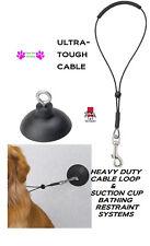 """Dog Pet HEAVY DUTY Grooming BATHTUB SUCTION CUP RESTRAINT HOOK & 15"""" Loop Noose"""