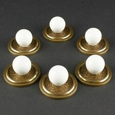 6 Brass & Porcelain Knobs | Vintage / Antique Drawer Pulls
