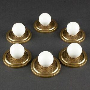 6 Brass & Porcelain Knobs | Vintage / Antique Drawer Pulls