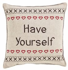 """Have Yourself A Merry Little Christmas Pillow Set/2 Red Embroidered Hearts 12""""Sq"""
