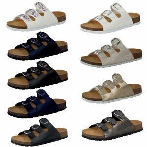 CAMPRELLA Damen  Tieffußbettpantoletten 3‐Schnaller versch. Farben und Größen