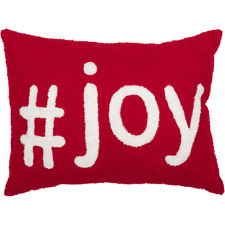 """#Joy Barn Red & White Christmas Toss Pillow Holiday Decor 14"""" x 18"""" Button Back"""