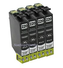 4x Hi-Yield BK Ink For Epson 220XL Expression XP320 XP420 XP424 WF2630 2650 2660