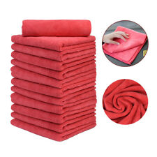 "12Pcs Professional Auto Detail Cleaning Microfiber Towel 16""x16"" Red"