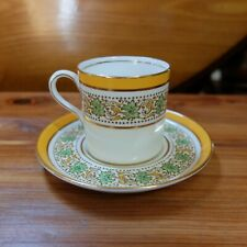 Vintage Aynsley Yellow & Green Hand Enamel Leaves Demitasse Cup & Saucer