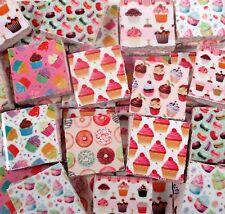 Ceramic Mosaic Tiles - Pink Cupcakes Donuts Macarons Mixed Mosaic Tile Pieces