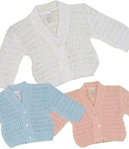 Baby Button Knitted Cardigan Boys Girls Blue Pink White Newborn 0-9 Months