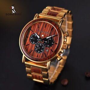 Bobo Bird Wooden Men Watch Relogio Masculino Top Brand Luxury Chronographs W-Q26