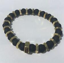 Men's Lava Diffuser Brass Screw Black Beaded Bracelet Unisex Gold Essential Oil