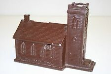 "Vintage Brown Metal Church Shaped ""In The Vale"" Piggy Bank Still Rare"