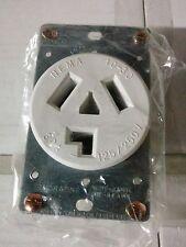 Dryer Outlet Receptacle 30A 125/250V White 3 Wire Flush Mount 30 Amp NEMA 10-30R