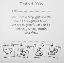 10 SILVER THANK YOU CARDS - BABY BIRTH / CHRISTENING GIFT / PRESENT & ENVELOPES