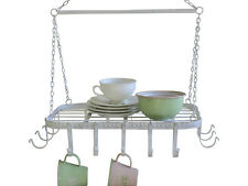Antique Chic Style White Metal Hanging French Kitchen Rack Saucepan Hook Ceiling