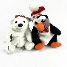 Vintage 1997 Coca Cola Bean Bag Plush Penguin and Bear Christmas