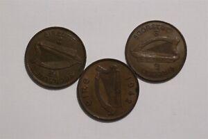 IRELAND PENNY 1933/37 + 1942 SHARP DETAILS B35 YJ35