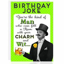 BIRTHDAY GREETING CARD - Funny Humour Joke Smelly Fart Vintage Male Booze