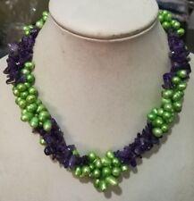 "Fashion 3 row Green Freshwater Pearl Amethyst necklace 18"""