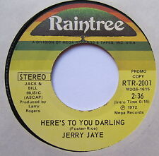 "JERRY JAYE - Here's To You Darling - Excellent Con 7"" Single Raintree RTR-2001"