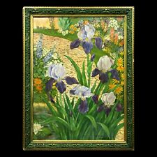 Large antique Expressionist Art Nouveau painting flowers signed dated 1910