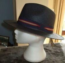"""Men's Failsworth Wide Brimmed Panama Hat Colour Navy Size 7 1/4""""/59cm"""