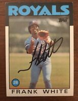 FRANK WHITE 1986 TOPPS AUTOGRAPHED SIGNED AUTO BASEBALL CARD ROYALS 215