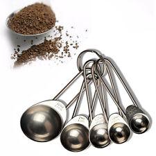 5pcs Kitchen Metal Measuring Spoon Cup Tea Coffee Sugar Cooking Baking Scoop New