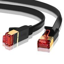 CAT7 RJ45 rete Ethernet Patch Lead Cavo CAT 7 5M-Versione FLAT NERO