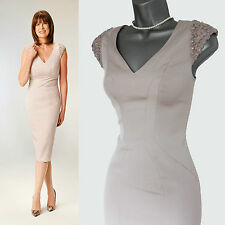 COAST Nude Shoulder Detail Zip On The Back Formal Tailored Dress UK 8  EU 36