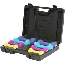 DTX Fitness 10kg Dumbbell Hand Weights Set & Case Gym/Exercise/Toning/Aerobics