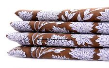 2.5 Yard Indian Brown Floral Hand Block Print Cotton Fabric Dressmaking Sewing