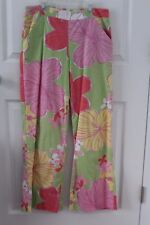 LILLY PULITZER pants white label size 8 big floral print full cut legs EC