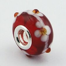 Murano Glass Bead Red 17mm High Sterling Silver Core for Charm Bracelet