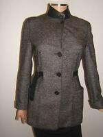 AKRIS PUNTO Bergdorf Goodman 4 Tweed Black Leather Wool Womens Blazer Jacket