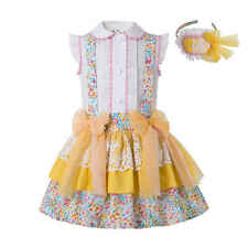 UK Flower Girls Easter Outfits Blouse Top Suspender Skirt Summer Party Pageant