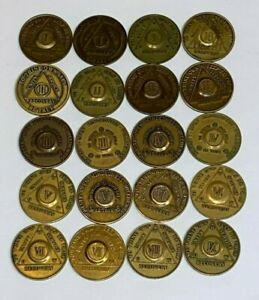 Lot of 20 AA Bronze Alcoholics Anonymous Sobriety Chip Coin Tokens LOT Vintage