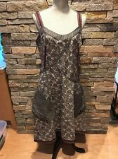NWT $342.00 Aimee G - Patchwork Summer Dress - Gray & Ivory Print - Large