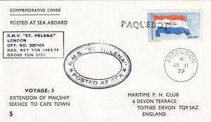 PP1219 Ascension Island posted at sea RMS St Helena Sth Africa stamp 11 Jan 1979