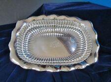 Antique Gorham Retangular Serving Bowl Fluted Rim Ribbed Sides Silverplate