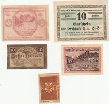 Austria - 1920 Banknotes Notgeld (5 Different) -- VF Condition # Lot 2