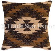 Handwoven Vintage Kilim Pillow Case 18x18 Boho Handmade Rug Jute Cushion Cover
