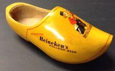 Vintage Heineken Holland Beer Carved Wooden Shoe Advertising Bottle Display