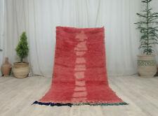 "Moroccan Handmade Vintage Rug 3'2x6'5"" Abstract Berber Red Tribal Wool Rug"