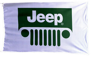 JEEP-FLAG WHITE BANNER LANDSCAPE 5 X 3 FT 150 X 90 CM