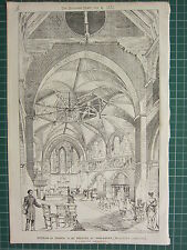 1877 DATED ARCHITECTURAL PRINT INTERIOR OF CHURCH AT HARLESDEN WILLESDEN TARVER