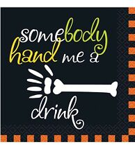 """16 HALLOWEEN Printed Cocktail NAPKINS """"SOMEBODY HAND ME A DRINK"""" Party Supplies"""