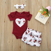 3Pcs Baby Girls Infant Clothes Set Floral Romper Jumpsuit Bowknot Shorts Outfits